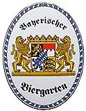 Bayerischer Biergarten Emaille Schild Bier Garten Bayern 28,5 x 37,5 cm Grenzschild Email Oval.