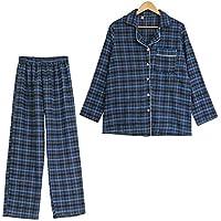 DUKUNKUN PijamaDe CuadrosVintage2 Piezas Traje De Cuadros Homewear Pijamas-L