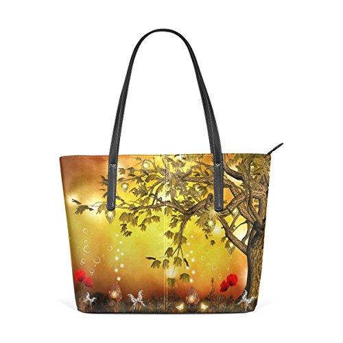 Eslifey Golden Tree Fantasy Landscape Portemonnaie PU Leder Schulter Tote-Tasche für Damen Mädchen Damen -