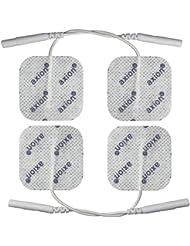 Électrodes pour électrostimulateurs TENS EMS - 4 électrodes - connexion à fil 2 mm - 4 x 4 cm - pour électrostimulateurs TENS et EMS
