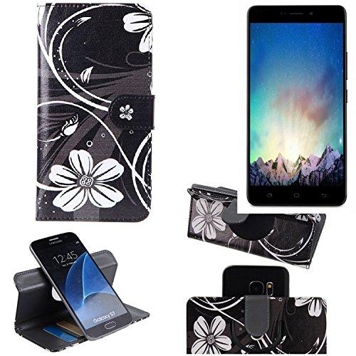 K-S-Trade Schutzhülle für Medion Life X5520 Hülle 360° Wallet Case Schutz Hülle ''Flowers'' Smartphone Flip Cover Flipstyle Tasche Handyhülle schwarz-weiß 1x