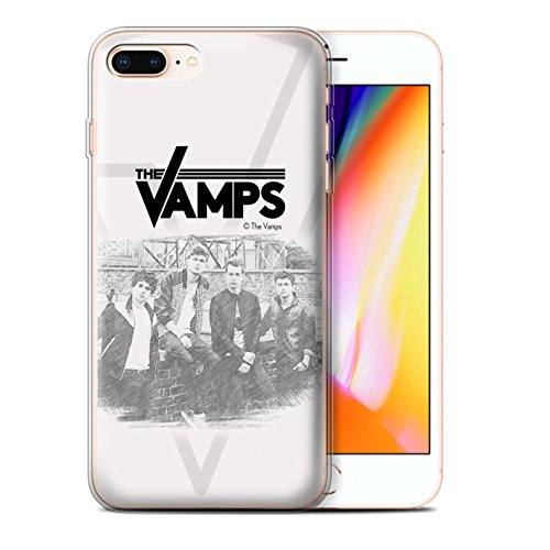 Offiziell The Vamps Hülle / Gel TPU Case für Apple iPhone 8 Plus / Kohlenstoff Muster / The Vamps Fotoshoot Kollektion Skizzieren