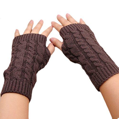 PanDaDa Damen Mädchen Arm fingerlose Handschuhe Winter Strickhandschuhe Daumenloch Fäustlinge Kurzer Armwärmer