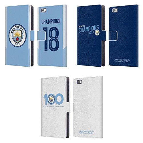 Officiel Manchester City Man City FC 2017/18 Champions Étui Coque De Livre en Cuir pour Huawei Téléphones 2