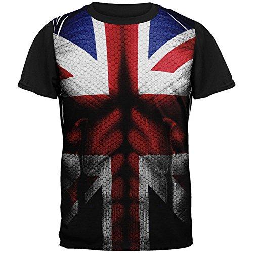Union Jack British Flag Superhero Kostüm Alle über Mens Black Back T-Shirt Multi MD (Black Flag Alle Kostüme)
