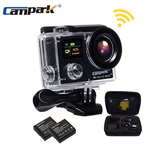 Campark Action Cam 4K WIFI Ultra HD Action Camera con Dual Screen Telecomando 170° Grandangolare due e Kit Accessori con Pacchetto Portatile