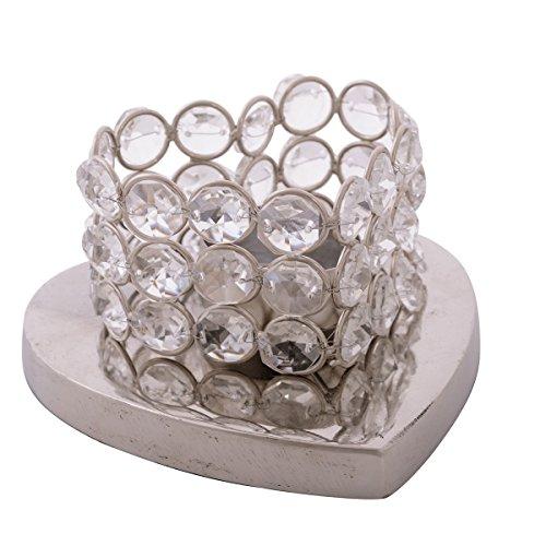 eCraftIndia Love Moments Heart Shape Base Crystal Tea Light Holder