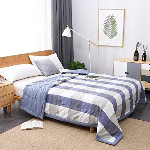HUILIN Sommer Gewaschene Baumwolle Klimaanlage Quilt weiche atmungsaktive Decke dünne Streifen Plaid Tröster Bettdecke, Multi, 180 x 220 cm -