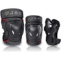 JBM BMX Bike Knee Pads and Elbow Pads with Wrist Guards Protective Gear Set for Biking, Riding, Cycling and Multi Sports Safety Protection: Scooter, Skateboard, Bicycle, Inline Skating