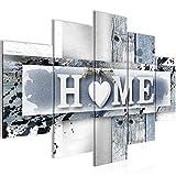 Bilder Home Herz Wandbild 150 x 100 cm Vlies - Leinwand Bild XXL Format Wandbilder Wohnzimmer Wohnung Deko Kunstdrucke Grau 5 Teilig - MADE IN GERMANY - Fertig zum Aufhängen 504553c