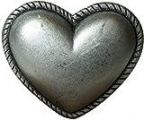 Fronhofer Gürtelschnalle Buckle Herz Damen 4 cm altsilber Herzform Schnalle Trachten Gürtelschließe, 18064, Farbe:Silber, Größe:One Size