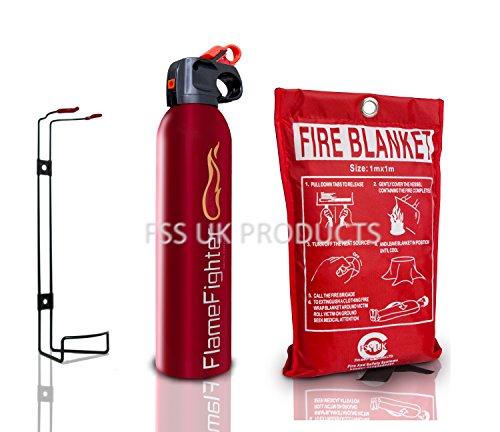 FSS UK Pulverfeuerlöscher 600g ABC-Pulver & 1m x 1m Löschdecke, ideal für Zuhause, Küche, Wohnwagen, Boote, Restaurants, Werkstatt und Büros