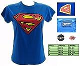 T-Shirt Superman Donna Lady Azzurra Originale Size M