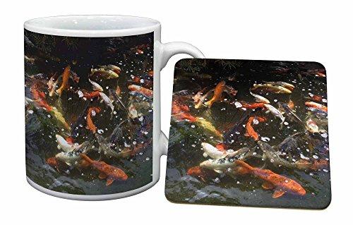 Advanta - Mug Coaster Set Schwimmen Koi Fisch Becher und Untersetzer Tier Geschenk Mug Coaster Set