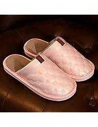 CWAIXXZZ zapatillas de felpa Zapatillas de algodón de invierno femenina de cuero pu parejas superior interior caliente zapatos gruesos en el antideslizante impermeable del hombre zapatos de algodón ,36-37 Código (34-35), Rosa