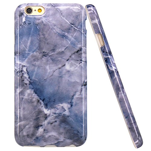 iPhone 6 Hülle, iPhone 6S Hülle, JIAXIUFEN Shiny Rose Gold Gray Marmor Design Soft TPU Silikon Schutz Handy Hülle Handytasche HandyHülle Case Cover Tasche Schutzhülle für iPhone 6 Blau Grau