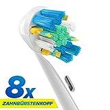 8 Stk. (2x4) Floss Action Ersatzbürsten kompatibel mit Oral-B elektrischen Zahnbürsten. Ersatz für EB25 Oral-B Tiefenreinigung Aufsteckbürsten. Voll kompatibel mit Oral-B Vitality, Professional Care und anderen elektrischen Zahnbürsten. Ersatzbürsten von ORAX® PearlClean.