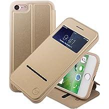 Nouske iPhone 7 iPhone 8 4.7 Zoll hülle Etui Smart Touch S View Window Leder Wallet Klapphülle Flip Book Case TPU Cover Bumper Ultra Slim Rundumschutz, Gold