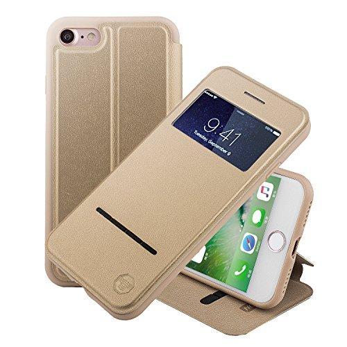 ne 8 4.7 Zoll hülle Etui Smart Touch S View Window Leder Wallet Klapphülle Flip Book Case TPU Cover Bumper Ultra Slim Rundumschutz, Gold (Windows 8 Phone Case)