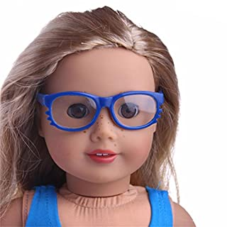 Momola Our Generation 18 inch American Girl Doll Stylish Plastic Round Frame Glasses Sunglasses, Dolls Outfits, Girls Pretend Play Toy Gifts (J)