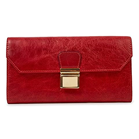 BAIGIO Lady Genuine Leather Purse Lone Wallet Credit Card Holder Case Clutch For Women Red