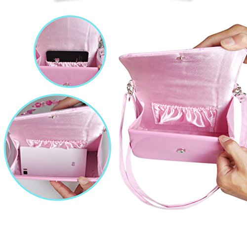 Happy Cherry Klein Mädchen Tasche Prinzessin Tasche Kinder Umhängetasche PU Leder Handtasche mit Stern Dekoration Kindertasche Größe 19.5 x 7.5 x 14.5 CM - Rosa Rosa 1