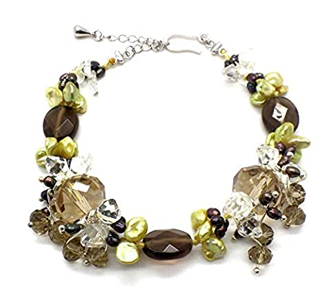 Lime Green Freshwater Pearl, Golden and Smoky Topaz Cluster Necklace Bracelet Set (Necklace) (Bracelet)