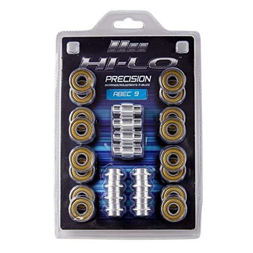 HILO 16ER Set Inline KUGELLAGER ABEC 9 608 inkl. Spacer, Komplett-Set für Inline Skates, Inline Hockey, Speed Bearings