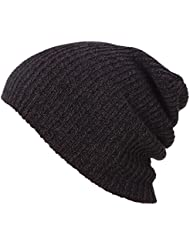 QHGstore Sombreros de invierno Slouchy Sombreros de gorrita tejida Sombrero de esquí caliente suave para niñas y niños Café