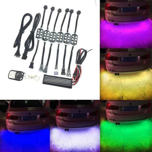 Juego 6 tiras luces LED suelo coche, 18 colores, mando