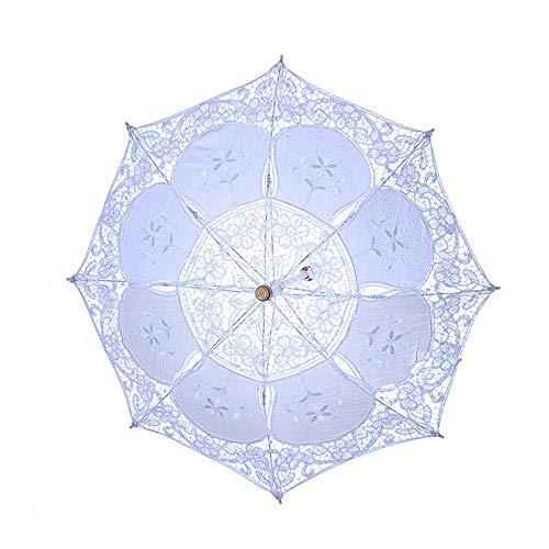 AOLVO Hochzeits-Sonnenschirm mit Spitze, Foto-Requisite, Regenschirm für viktorianische Dame, Kostüm-Accessoire, Braut-Party-Dekoration, weiß, S (Viktorianische Braut Kostüm)