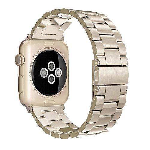 Apple Watch Edelstahl Armband,Simpeak Premium Band Straps für Apple Watch Series 1/2/3- Gr. 42 mm, Champagner-Gold