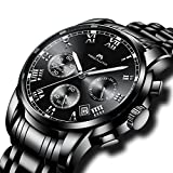 - 51pXr 2BrUSAL - Mens Black Stainless Steel Wrist Watches Men Waterproof Chronograph Luminous Day Date Calendar Counts Watch Luxury Sports Analogue Stopwatch Dress Casual Business Roman Numeral Watches for Men