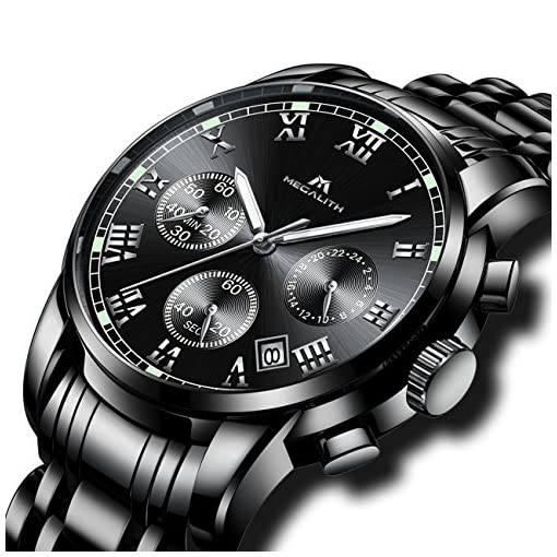 Mens Black Stainless Steel Wrist Watches Men Waterproof Chronograph Luminous Day Date Calendar Counts Watch Luxury Sports Analogue Stopwatch Dress Casual Business Roman Numeral Watches for Men