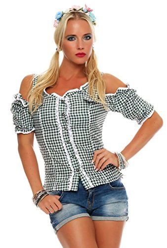 Fashion4Young Dirndlbluse Bluse Trachtenbluse Trachten Oktoberfest  Lederhose Trachtenmieder Grün 389302c246