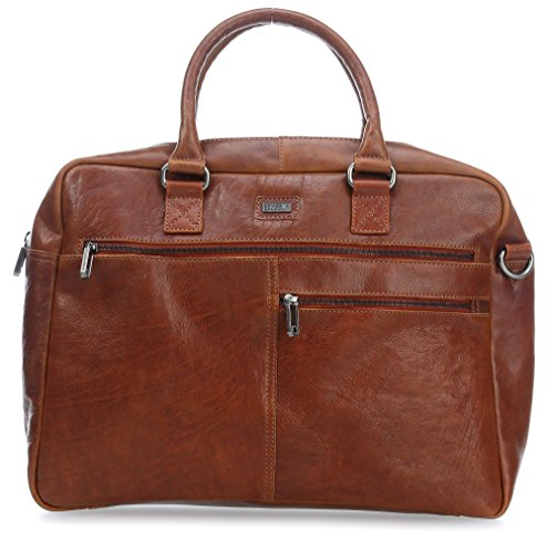 Spikes & Sparrow Kansas Aktentasche Leder 41 cm Laptopfach dark tan