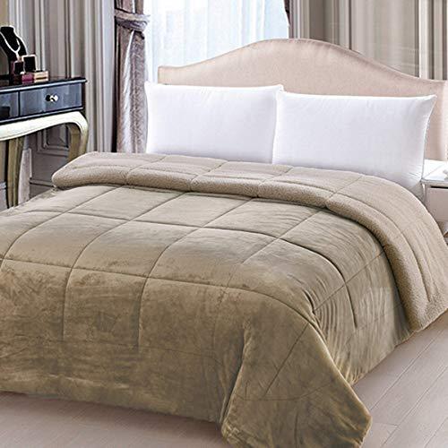 Trapunta flannel bicolor in velluto e lana agnellata - dimensioni varie s944 matrimoniale beige