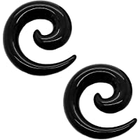 tumundo Set di 16 Pezzi / 1 Paio Stretching Dilatatori Spirale Taper Expander Piercing per Tunnel 1,6-10mm Nero