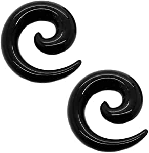 tumundo Set di 16 Pezzi / 1 Paio Stretching Dilatatori Spirale Taper Expander Piercing per Tunnel 1,6-10mm Nero