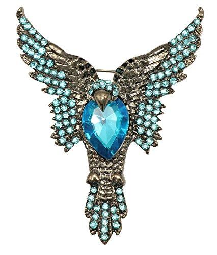 KristLand - Negro Tono Azul Cristales Austriaco Aguila Pajaro Animal Broche Pin Vintage Gotico Estilo