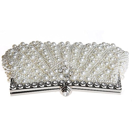 UK_Stone Handmade Elegant Damen Perlen Beaded Clutch Handtasche Party Abendtasche Weiß