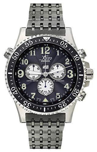 Xezo Air Commando Pilots de Hombre - Reloj de Estilo Vintage cronógrafo Suizo con Segundo Huso horario...
