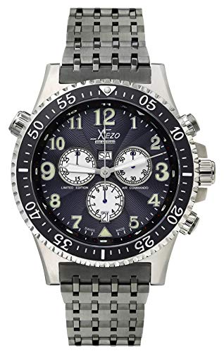 Xezo Air Commando Herren-Armbanduhr, Schweizer Quartz Piloten Taucher Chronograph Uhr, 20 ATM, 2 Zeitzone