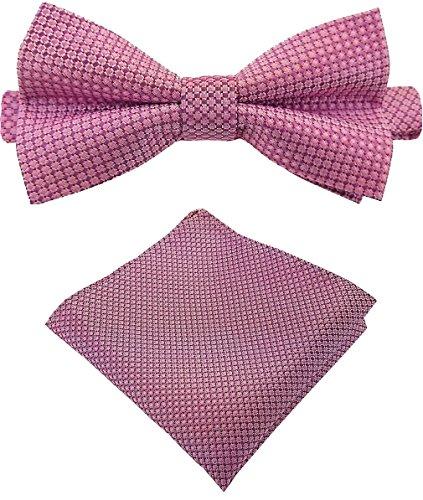 Rosa Binder 2 (Louis Binder de Luxe Fliege mit Einstecktuch und Aufbewahrungsbox 2er Fliegen Set Schlips Querbinder Schleife Mascherl Krawattenschleife 528 rosa fein kariert)