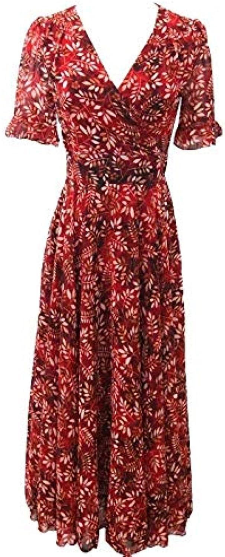 ... Oudan Vestito Elegante da Donna Estate Vestito Floreale con Scollo in a  V Elastico in Scollo 2ddedd1d0eb