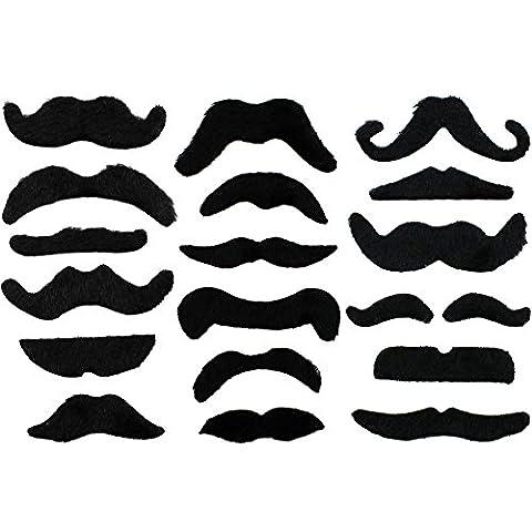 COM-FOUR® 18-teiliges Schnurrbart Set aus falschen Schnurrbärten, selbstklebend, nur einmal