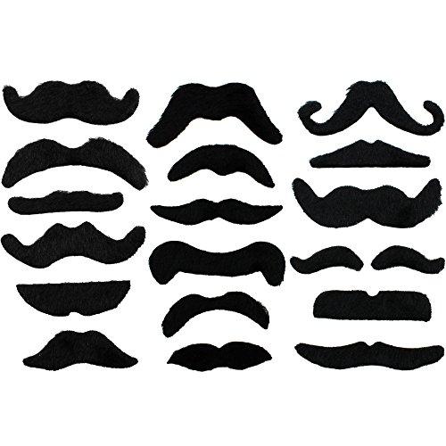 COM-FOUR® 18-teiliges Schnurrbart Set aus falschen Schnurrbärten, selbstklebend, nur einmal nutzbar