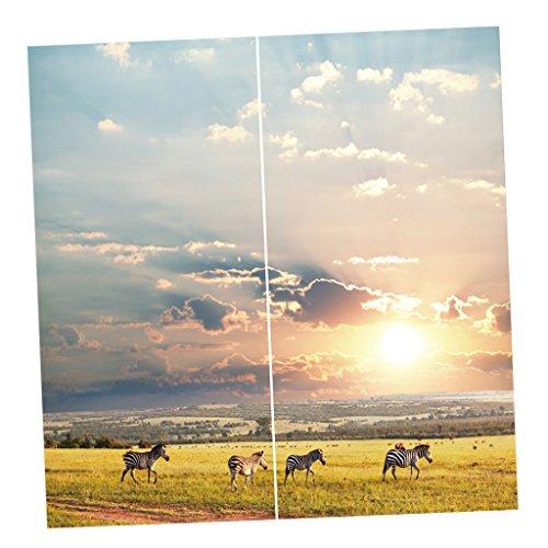 Baoblaze 2er-Set Schöne Vorhang Schal Verdunkelungsvorhang BLICKDICHT -Tiere Serie - Zebra (Zebra Tier Vorhang-set)