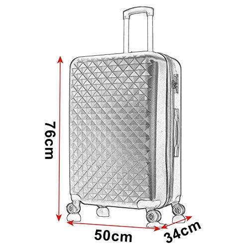 EUGAD Reisekoffer Harschalenkoffer 4 Rollen mit erweiterbaren Volumen Reise Koffer Trolley Hartschale Zwillingsrollen Handgepäck groß M L XL Set , Silber Grau (XL 75 cm & 110 Liter) , RK4216sg-XL - 6