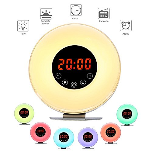 [2018 Neueste Version] Wake Up Licht, YLDT Lichtwecker mit Intelligente Weckfunktion FM Radio, 6 Natur Sounds, 7 Farbige LED Lichter, Touch Control und USB Ladegert